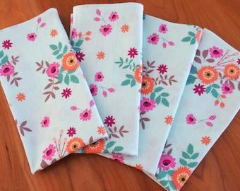 Flower Bouquet Napkins (4) in Blue, Pink, Orange, Green, Fuchsia, Magenta, Floral Cloth Napkins, Large Dinner Napkins, Spring, Felicity