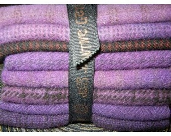 Grape Hand dyed felted wool in a range of Grape tones - textures perfect rug hooking and applique wool Primitive Gatherings Wool