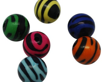 CLEARANCE - Zebra Round Beads - set of 20 - #SH151