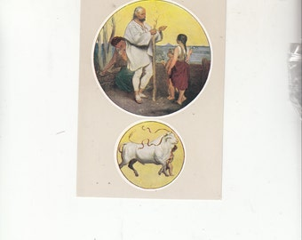 "C1940-50 Beautiful Artistry Postcard-Prague-Sign Of the Zodiac-Taurus-Unused-4"" X 6"""