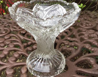 Rare Find-Vintage Clear Glass-McKee Pres-Cut/Heavy Punch Bowl Base