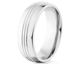 Cobalt Promise Rings, Cobalt Wedding Band, Shiny Cobalt Ring Stunning Wedding Ring : COB-8HR3CG-P