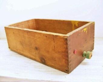 Wooden Drawer Vintage Wood Hardware Store Drawer Green Wooden Knob Butler NJ 1940s