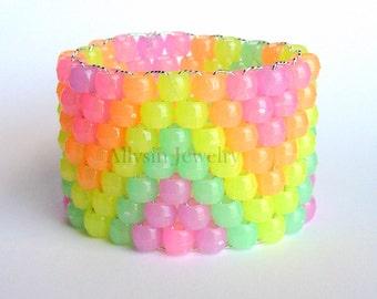 Rainbow Glow Kandi Cuff, Raver Plur Bracelet, Zig Zags, Glow in the Dark Kandi
