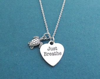 Just breathe, Turtle, Breathe, Necklace, Jewelry, Necklace, Just breathe Necklace