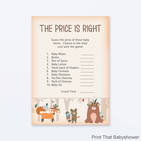The Price Is Right Baby Shower Game Woodland Baby Shower