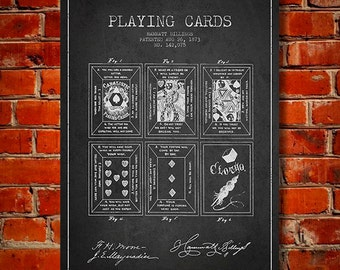 1873 Playing Cards Patent, Canvas Print, Wall Art, Home Decor, Gift Idea