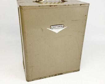 Craftsman Tool Box, Antique Toolbox, Vintage Toolbox, Tool Chest,  Metal Toolbox, Machinist Tool Box, Garage Storage, Man Cave