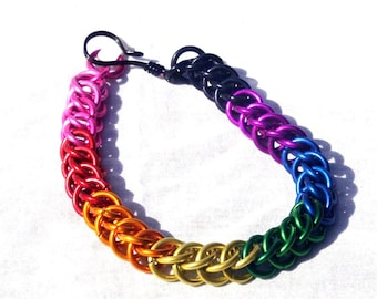 Chainmaille Jewellery, Rainbow Half Persian Chainmail Bracelet, Anodized Aluminum