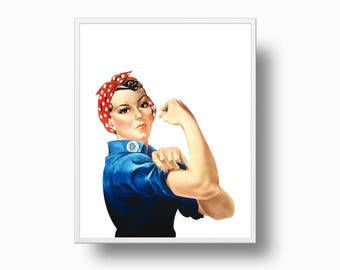 We Can Do It Poster, Rosie The Riveter  We Can Do It, Strong Woman Print, Vintage Poster, Instant Download, Feminist Wall Art