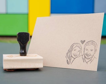 Custom portrait stamp - couples - wedding favors - Custom couples portrait stamps - bachelorette bride mrs - personalized gift for stamp