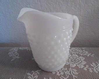 Vintage Hobnail Milk Glass Juice Pitcher