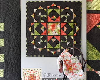 """Quilt Pattern (digital downloadable pdf) of TOWN SQUARE GARDEN Quilt by Robin Pickens / wall quilt (54"""" or 38"""" square) /light & dark"""