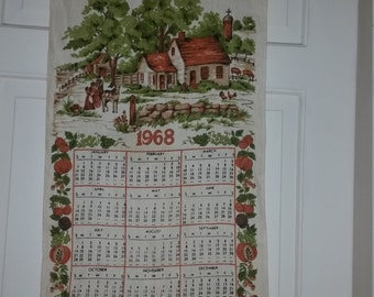 Vintage Linen Kitchen Calender 1968 Bless This House