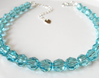 Turquoise Swarovski Crystal Bracelet or Anklet - Blue Ankle Bracelet - Something Blue - Beach Wedding Party - Turquoise Crystal Jewelry