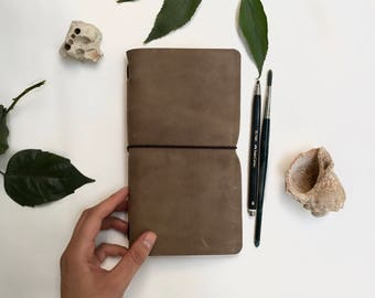 Traveler's notebook, leather travelers notebook, Midori journal, travel journal, rustic diary, anniversary gift, present for him