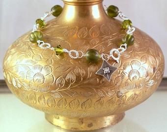 Moss Sparkle - Swarovski Crystal Glass and Sterling silver Bracelet SRAJD
