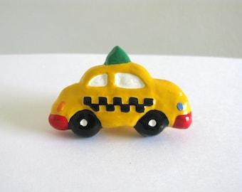 Taxi Knob - ceramic painted dresser drawer knob for kids room
