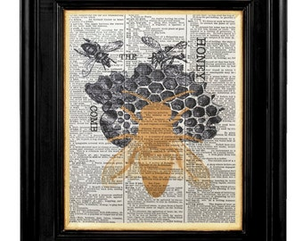Vintage Bee Hive, Queen Bee, Honey Bee Wall  Print, Honey Bee, Mixed Media Size 8x10 Vintage Dictionary Page Print, Honey Bee Pictures, Bees