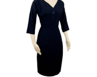1950s By Debonaire Boston Midnight Blue Cocktail Wiggle A-Line Bombshell Vintage Knee Length Dress