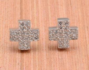 Diamond and Platinum Cross Earrings