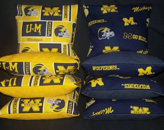 Set Of 8 University of Michigan Wolverines Cornhole Bean Bags Top Quality FREE SHIPPING