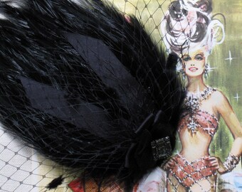 Burlesque Black Veil And Feather Hair Clip // Your Choice Of Brooch
