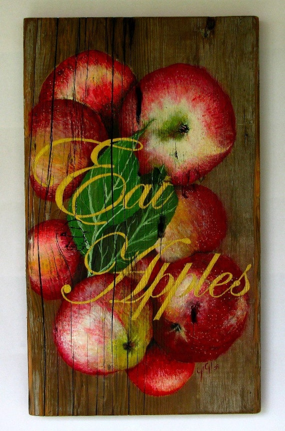 Apple painting Original acrylic painting on reclaimed rustic solid wood board