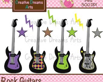 40% Off! Rock Guitar Digital Clip Art Instant Download
