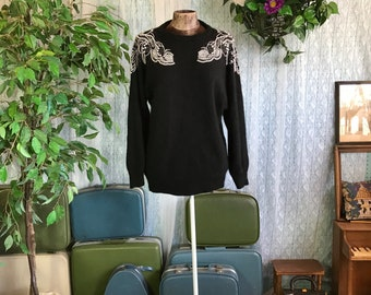 Vintage 80's Applique Embellishment Black Sweater Silk Angora Sweater Di Castelli size 14/16