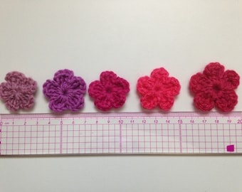 Set of 5 flowers of pink to purple