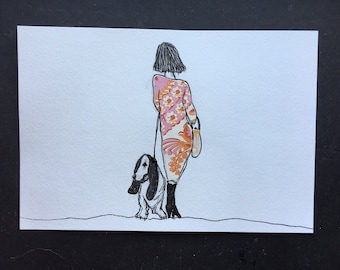 Girl Walking Away with Orange and Pink Dress and Basset Hound Dog Illustration Ink Drawing with Watercolor
