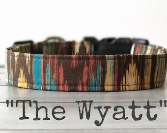 Last Chance!! DOG COLLAR, Made to Order, Aztec, Gender Neutral Dog Collar, Turquoise - The Wyatt