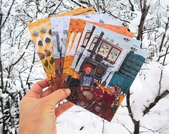 Postcard 2 x 4 set 'Cosy winter'