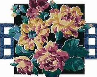 Blue, White FLORAL Wallpaper Border Eisenhart GP19402 Flower Bouquet of Yellow Gold, Green, Purple & Rose on Black with Lattice Fencing
