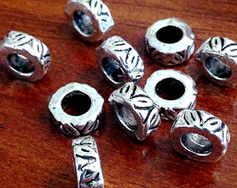 15 Spacer Beads, European Beads, Silver Spacer Beads, Big Hole Beads, Barrel Beads, European Beads, Jewelry and Craft Supplies, Findings