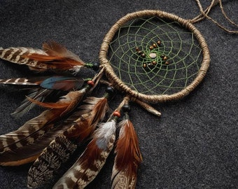 Dreamcatcher with woods feather - Earth element AVAILABLE ON REQUEST