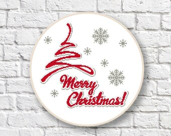 Christmas Tree Cross Stitch Pattern, Christmas Tree Patterns, Merry Christmas Cross Stitch Pattern, PDF Instant Download #ch012