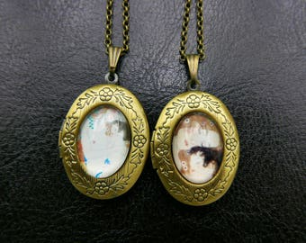 Gustav klimt Mother and child locket Necklace, 1318M