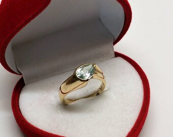 Designer Ring Gold 585 Aquamarine Elegant rar GR455