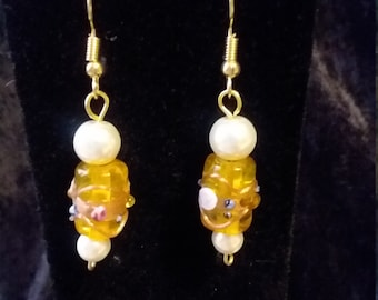 Yellow lampwork bead earrings