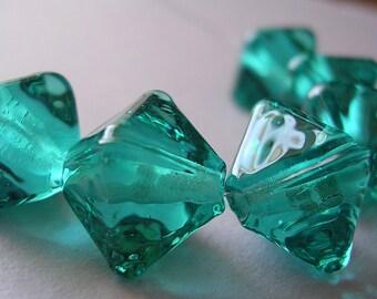 Handmade Glass Blue Green Lampwork Beads Ericabeads Aqua Teal Crystal Spacers (6)