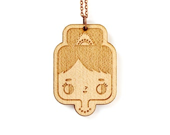 Audrey Hepburn necklace - lasercut maple wood pendant - cute character jewelry - wooden illustrated jewellery - stylized movie star