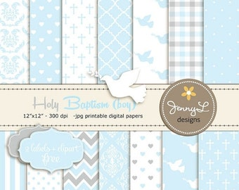 50% OFF Boy Baptism Digital Papers, First Communion Digital Scrapbooking Papers, Christening Digital Paper, Boy Baptismal, Dedication, Holy