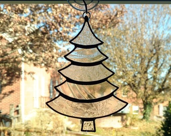 Stained Glass Christmas Tree Suncatcher, Clear Glass, Christmas Tree Ornament, Holiday Decor, Christmas Gift, Stocking Stuffer, Window Decor