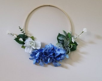 Modern Blue Hydrangea Spring and Summer Hoop Wreath