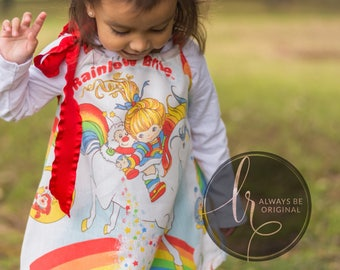 Rainbow Bright Dress Vintage Retro 80's Gift Outfit Holiday Birthday Boutique Girl Baby