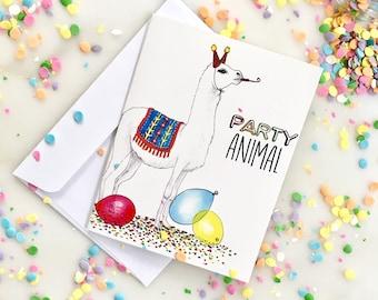 Party Animal Birthday Card, Happy Birthday Card, Illustrated Birthday Card, Llama Birthday Card, Animal Happy Birthday Card