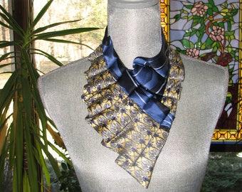 Silk Necktie Necklace - Refashioned Necktie - Silk Collar - Ruffled Necklace - Pleated scarf