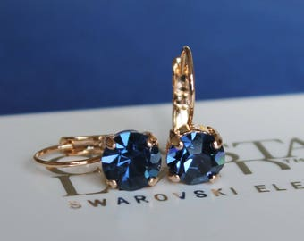 Rose Gold Plated Leverback Earrings made with Montana Blue Swarovski Crystal Elements. Earrings by Lady C
